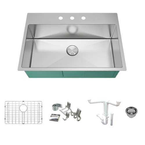 Transolid KKM-DTSS322210-3 Diamond Sink Kit with Single Bowl, 3 Pre-Drilled Holes, Magnetic Accessories Kit, and Drain Kit
