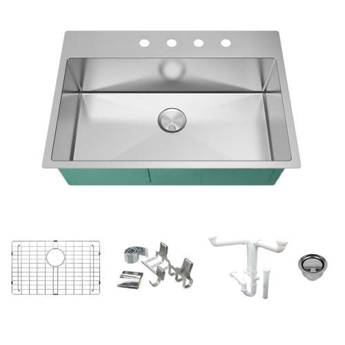 Transolid KKM-DTSS322210-4 Diamond Sink Kit with Single Bowl, 4 Pre-Drilled Holes, Magnetic Accessories Kit, and Drain Kit