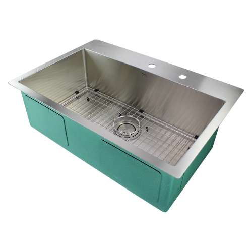 Transolid Diamond 32in x 22in 16 Gauge Super  Dual Mount Single Bowl Kitchen Sink with FR2 Holes