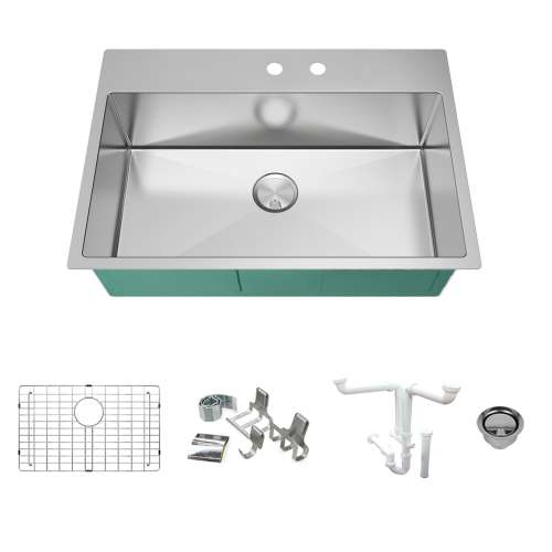 Transolid KKM-DTSS322210-MR2 Diamond Sink Kit with Single Bowl, 2 Pre-Drilled Holes, Magnetic Accessories Kit, and Drain Kit