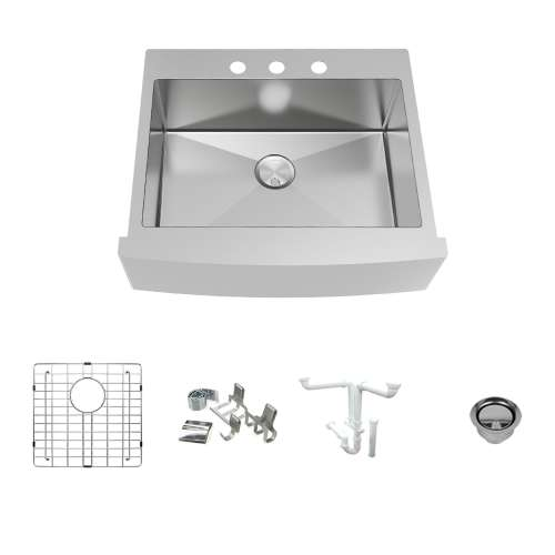 Transolid KKM-DTSSF302510-3 Diamond Sink Kit with Farmhouse Style Single Bowl, 3 Pre-Drilled Holes, Magnetic Accessories Kit, and Drain Kit