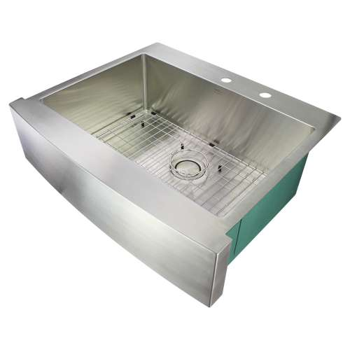 Transolid Diamond 30in x 25in 16 Gauge Super  Dual Mount Single Bowl Kitchen Sink with FR2 Holes