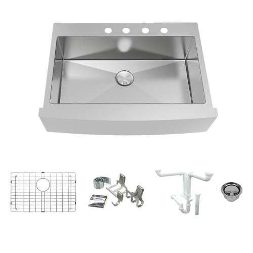 Transolid KKM-DTSSF362510-4 Diamond Sink Kit with Farmhouse Style Super Single Bowl, 4 Pre-Drilled Holes, Magnetic Accessory Kit and Drain Kit