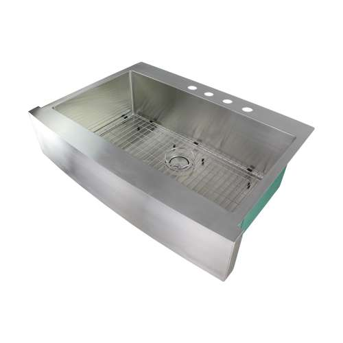 Transolid Diamond 36in x 25in 16 Gauge Super  Dual Mount Single Bowl Kitchen Sink with 4 Holes