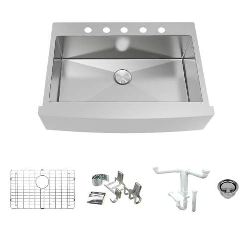 Transolid KKM-DTSSF362510-5 Diamond Sink Kit with Farmhouse Style Super Single Bowl, 5 Pre-Drilled Holes, Magnetic Accessory Kit and Drain Kit