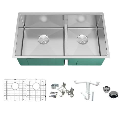 Transolid KKM-DUDO331910 Diamond Sink Kit with 60/40 Double Bowls, Magnetic Accessories Kit, and Drain Kit