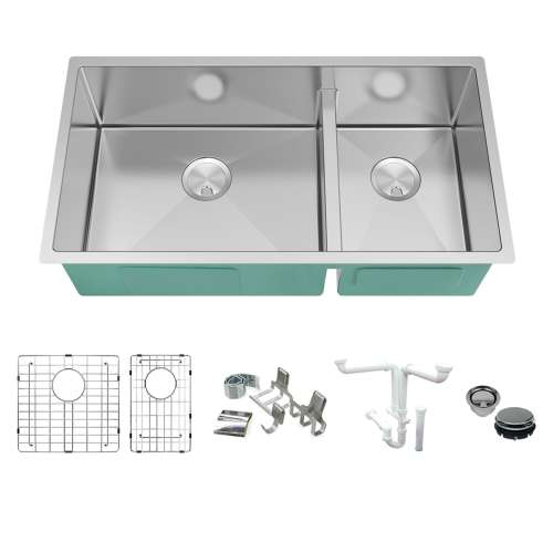 Transolid KKM-DUDO361910 Diamond Sink Kit with 60/40 Double Bowls, Magnetic Accessories Kit, and Drain Kit