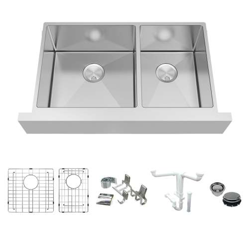 Transolid KKM-DUDOF362010 Diamond Sink Kit with Farmhouse Style 60/40 Double Bowls, Magnetic Accessories Kit, and Drain Kit