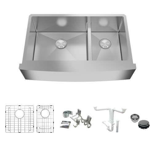 Transolid KKM-DUDOF362210 Diamond Sink Kit with Farmhouse Style 60/40 Double Bowls, Magnetic Accessories Kit, and Drain Kit