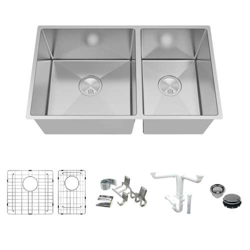 Transolid KKM-DUDOT321910-16 Diamond Titan Sink Kit with 60/40 Double Bowls, Magnetic Accessories Kit, and Drain Kit