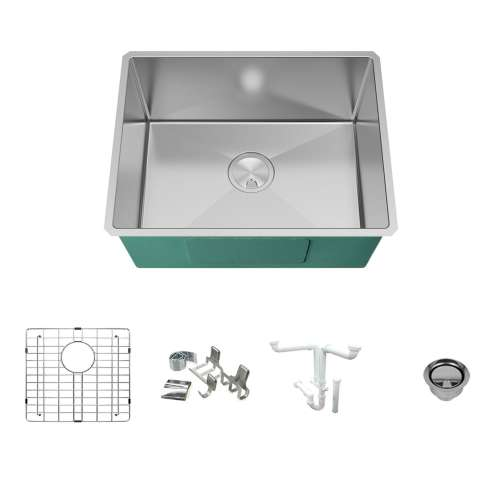 Transolid KKM-DUSB231810 Diamond Sink Kit with Single Bowl, Magnetic Accessories Kit, and Drain Kit