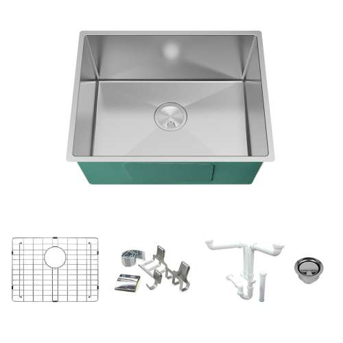 Transolid KKM-DUSBT241910-16 Diamond Titan Sink Kit with Single Bowl, Magnetic Accessories Kit, and Drain Kit