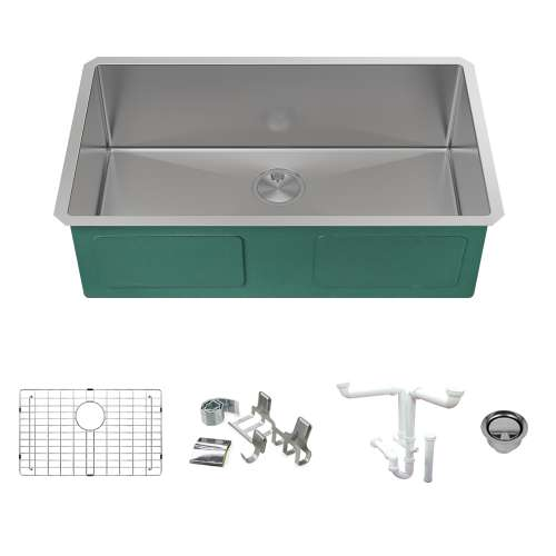Transolid KKM-DUSS301810 Diamond Sink Kit with Single Bowl, Magnetic Accessories Kit, and Drain Kit