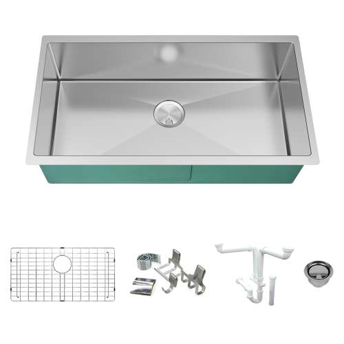 Transolid KKM-DUSS351910 Diamond Sink Kit with Super Single Bowl, Magnetic Accessories Kit, and Drain Kit