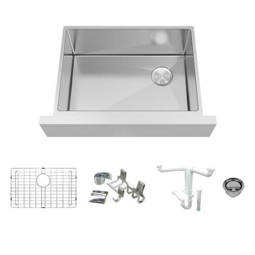 Transolid KKM-DUSSF302010 Diamond Sink Kit with Farmhouse Style Single Bowl, Magnetic Accessories Kit, and Drain Kit