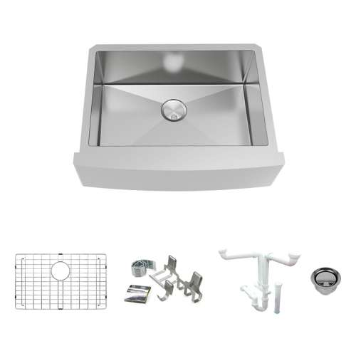 Transolid KKM-DUSSF302210 Diamond Sink Kit with Farmhouse Style Single Bowl, Magnetic Accessories Kit, and Drain Kit