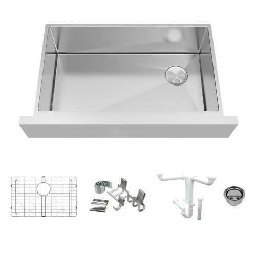 Transolid KKM-DUSSF362010 Diamond Sink Kit with Farmhoue Style Super Single Bowl, Magnetic Accessories Kit, and Drain Kit