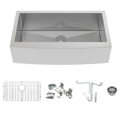 Transolid KKM-DUSSF362210 Diamond Sink Kit with Farmhouse Style Super Single Bowl, Magnetic Accessories Kit, and Drain Kit