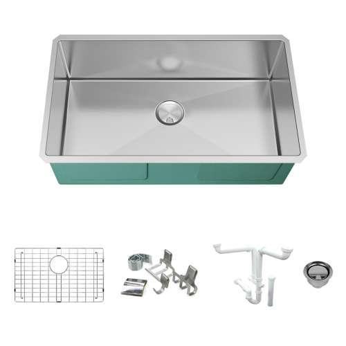 Transolid KKM-DUSST321910-16 Diamond Titan Sink Kit with Super Single Bowl, Magnetic Accessories Kit, and Drain Kit