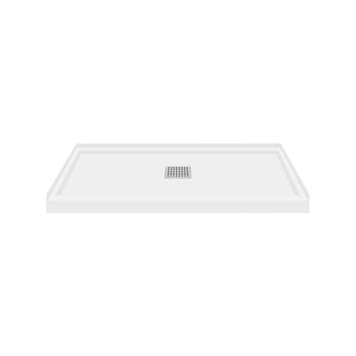 Transolid FL4836C-31 Linear 48x36 Single Threshold Shower Base with Center Drain in White