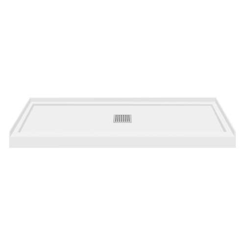 Transolid FL6036C-31 Linear 60x36 Single Threshold Shower Base with Center Drain in White