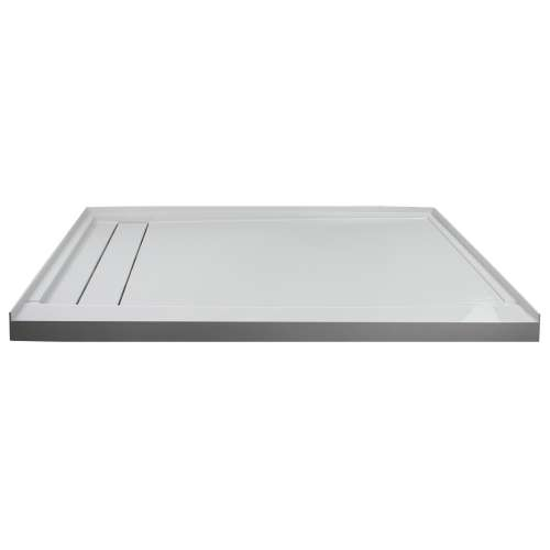 Transolid FLU6030L-39 Linear 60-in W x 30-in L Rectangular Shower Base with Left Hand Drain in Grey