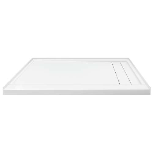 Transolid FLU6030R-31 Linear 60-in W x 30-in L Rectangular Shower Base with Right Hand Drain in White