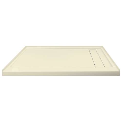 Transolid FLU6032R-38 Linear 60-in W x 32-in L Rectangular Shower Base with Right Hand Drain in Biscuit