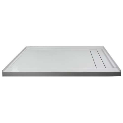 Transolid FLU6032R-39 Linear 60-in W x 32-in L Rectangular Shower Base with Right Hand Drain in Grey