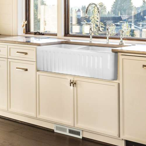 Transolid Menton Double Reversible Farmhouse Fireclay Sink