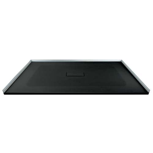 Transolid FZS5140C-09 51-in L x 40-in Shower Base with Zero Threshold and Center Drain in Black