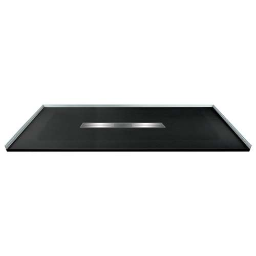 Transolid FZS6336C-09 63-in L x 35.5-in Shower Base with Zero Threshold and Center Drain in Black
