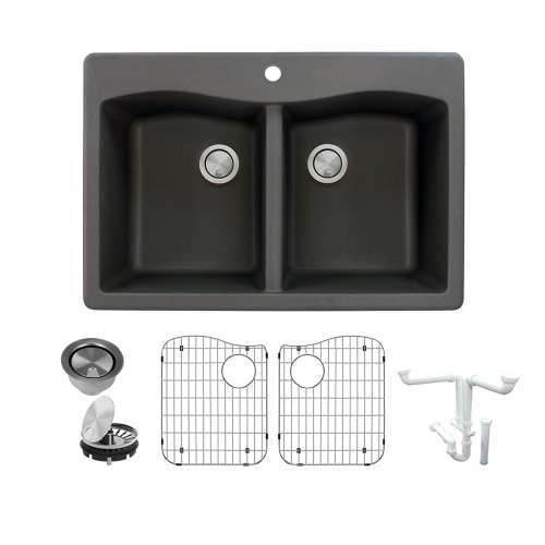 Transolid Aversa Granite 33-in Drop-In Kitchen Sink Kit with Grids, Strainers and Drain Installation Kit in Black