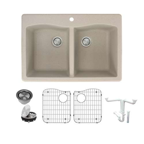 Transolid Aversa Granite 33-in Drop-In Kitchen Sink Kit with Grids, Strainers and Drain Installation Kit in Cafe Latte