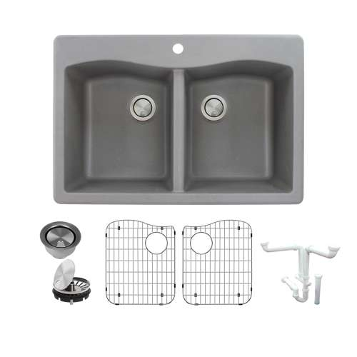 Transolid Aversa Granite 33-in Drop-In Kitchen Sink Kit with Grids, Strainers and Drain Installation Kit