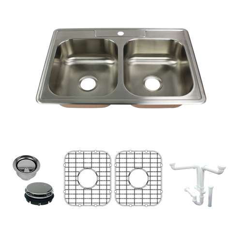 Transolid Classic 33in x 22in 18 Gauge Drop-in Double Bowl Kitchen Sink with 1-Hole with Grids, Strainer, Disposer Strainer, Installation Kit
