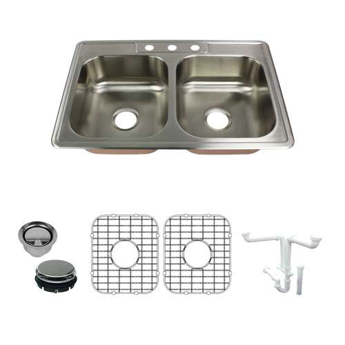Transolid Classic 33in x 22in 18 Gauge Drop-in Double Bowl Kitchen Sink with 3-Holes with Grids, Strainer, Disposer Strainer, Installation Kit