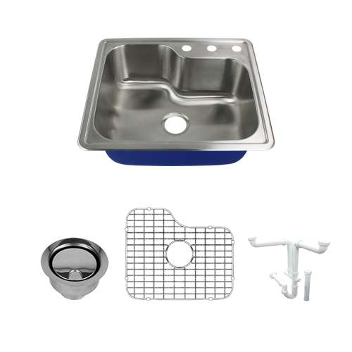 Transolid Meridian 25in x 22in 16 Gauge Drop-in Single Bowl Kitchen Sink with 3-Holes with Grid, Strainer, Installation Kit
