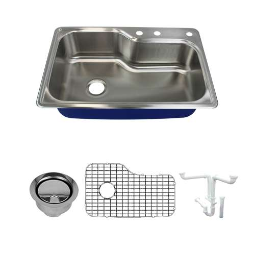 Transolid Meridian 33in x 22in 16 Gauge Super Drop-in Single Bowl Kitchen Sink with MR3-Holes with Grid, Strainer, Installation Kit