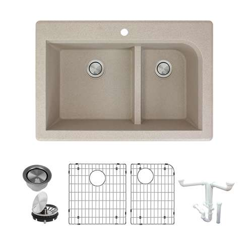 Transolid Radius Granite 33-in Drop-In Kitchen Sink Kit with Grids, Strainers and Drain Installation Kit in Cafe Latte