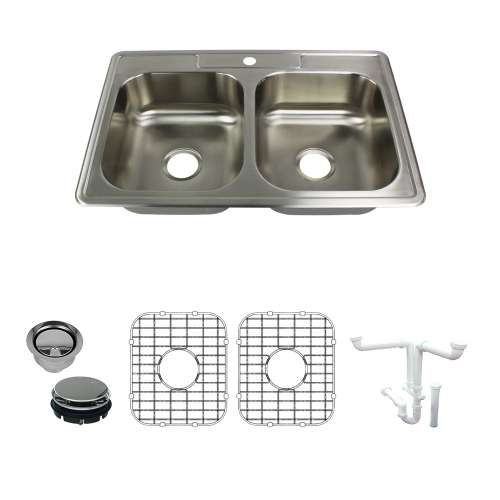 Transolid Select 33in x 22in 22 Gauge Drop-in Double Bowl Kitchen Sink with 1-Hole with Grids, Strainer, Disposer Strainer, Installation Kit