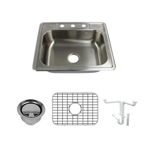 Transolid Select 25in x 22in 22 Gauge Drop-in Single Bowl Kitchen Sink with 3-Holes with Grid, Strainer, Installation Kit