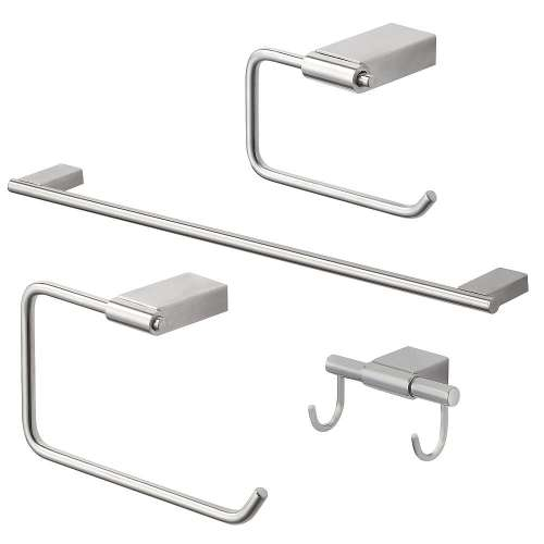 Transolid Maddox 4-Piece Bathroom Accessory Kit in Brushed Stainless