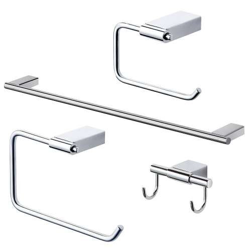 Transolid Maddox 4-Piece Bathroom Accessory Kit in Polished Chrome