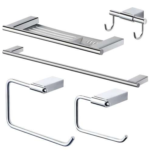 Transolid Maddox 5-Piece Bathroom Accessory Kit in Polished Chrome