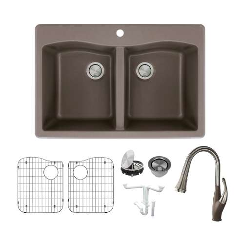 Transolid Aversa Granite 33-in Drop-In Kitchen Sink Kit with Faucet, Grids, Strainers and Drain Installation Kit in Espresso