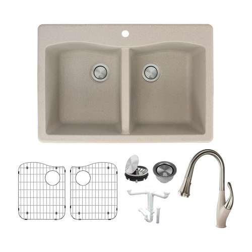 Transolid Aversa Granite 33-in Drop-In Kitchen Sink Kit with Faucet, Grids, Strainers and Drain Installation Kit in Cafe Latte
