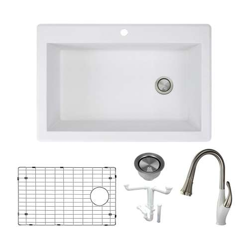 Transolid Radius Granite 33 In Drop In Kitchen Sink Kit With Faucet Grids Strainers And Drain Installation Kit In White Kf Rtss3322 01