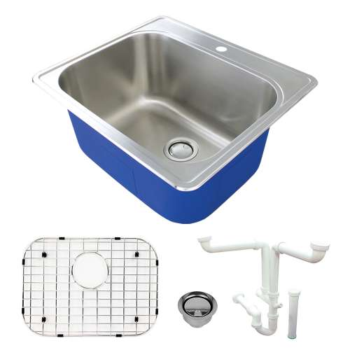 Transolid Meridian Stainless Steel Laundry/Utility Sink Kit with 1-Hole TRS_K-MTSB252212-1-M