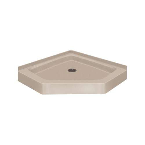 Transolid Decor Solid Surface 36-in x 36-in Neo-Angle Shower Base with Center Drain